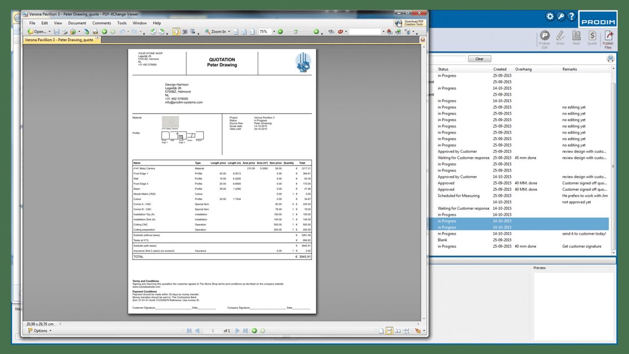 Captura de pantalla- Software PRODIM Fábrica – Cotizar