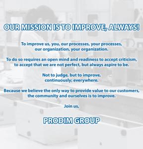 Misión del grupo PRODIM: la ¡nuestra misión es mejorar, siempre!