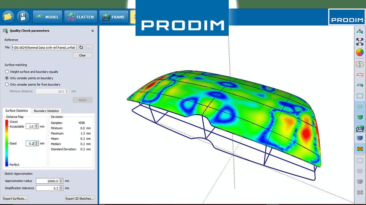 PRODIM Soluciones completas de Modelaje, programas basados por industrias en aplicaciones específicas -Captura Pantalla De Software PRODIM Vidrio curvo