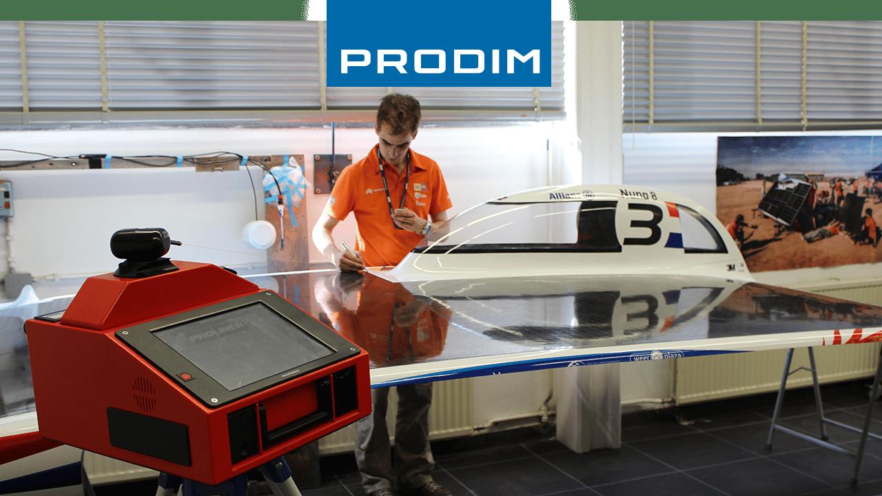Dispositivo de medición digital PRODIM Proliner-utilizado para el control de calidad del coche solar del equipo de InNuon Racing
