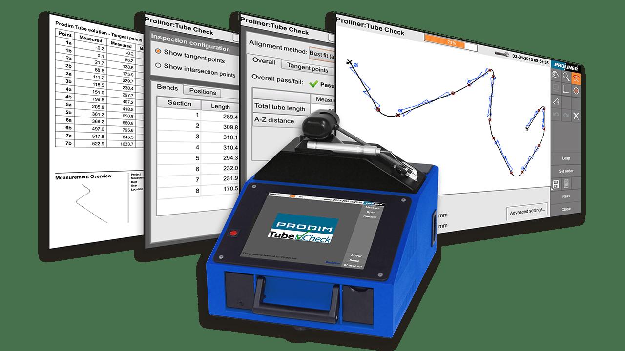 Capturas de pantalla del software PRODIM TubeCheck y una imagen de un Proliner 10IS