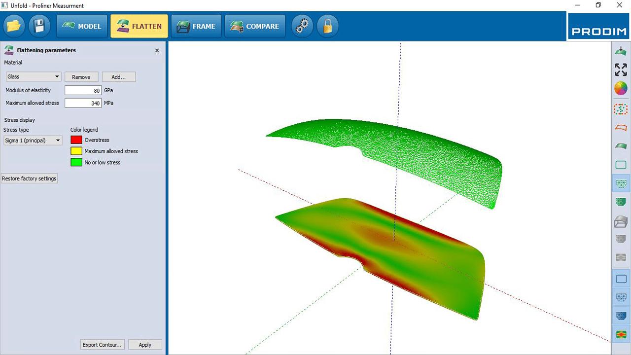 Captura de Pantalla -Software PRODIM Vidrio curvo - Aplanar