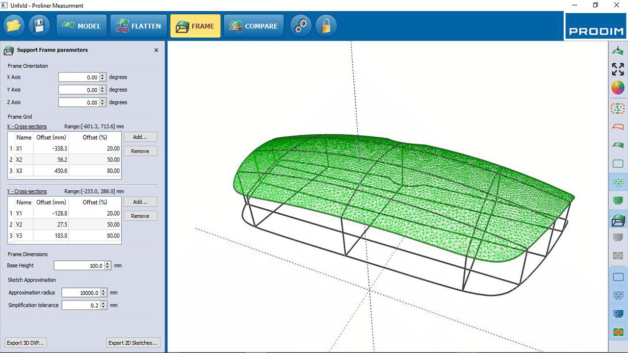 Captura de Pantalla -Software PRODIM Vidrio curvo - Herramienta de horno maestra