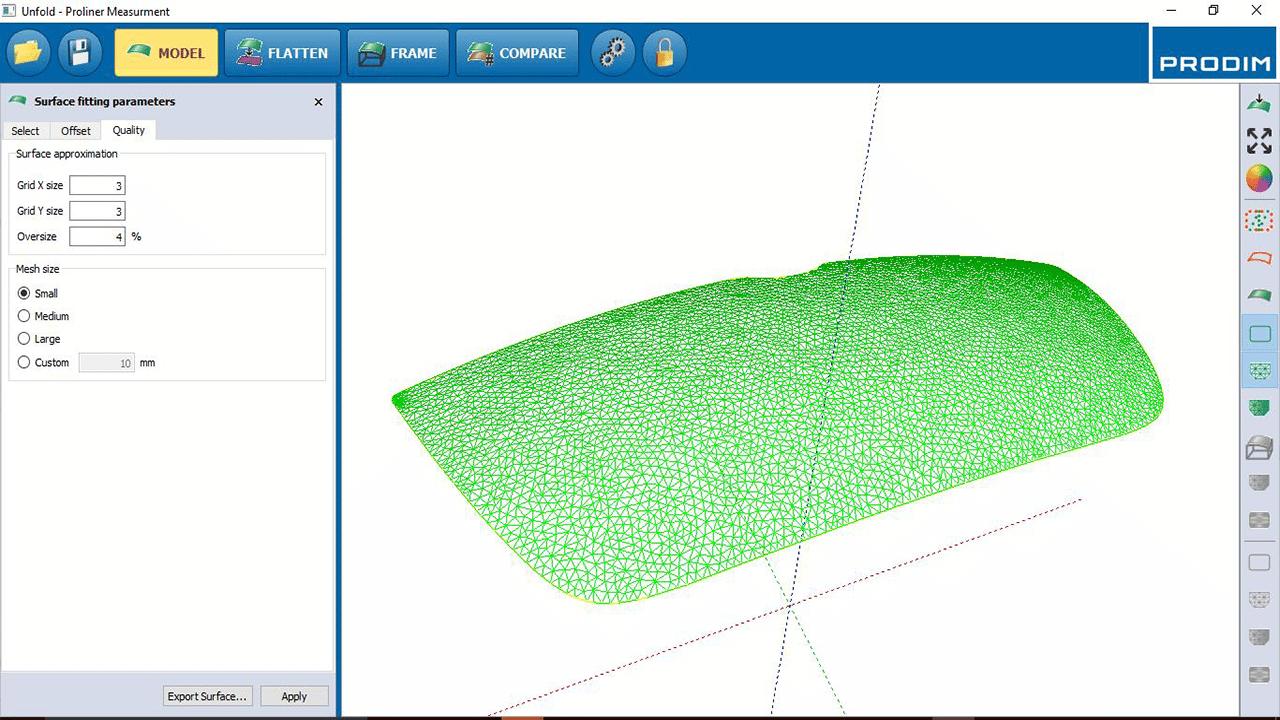 Software-software PRODIM Vidrio curvo -modelar
