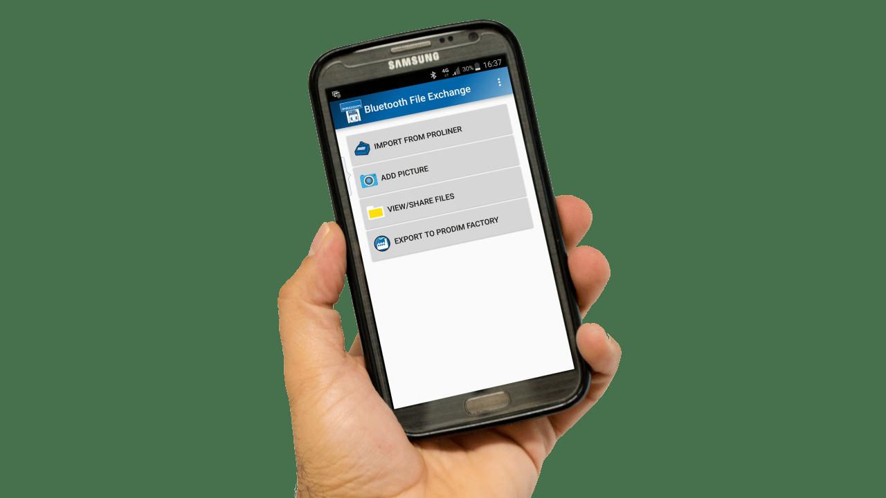 Aplicación Prodim para sus teléfonos smartphone - File-Transfer